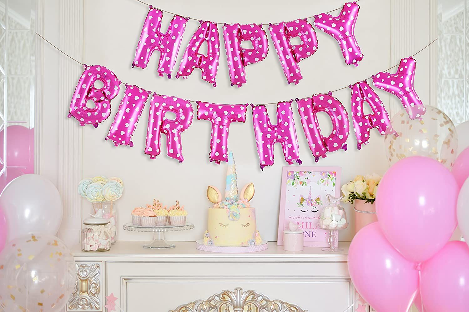 16/' Happy Birthday Balloons Banner Balloon Bunting Party Decoration 13 pieces