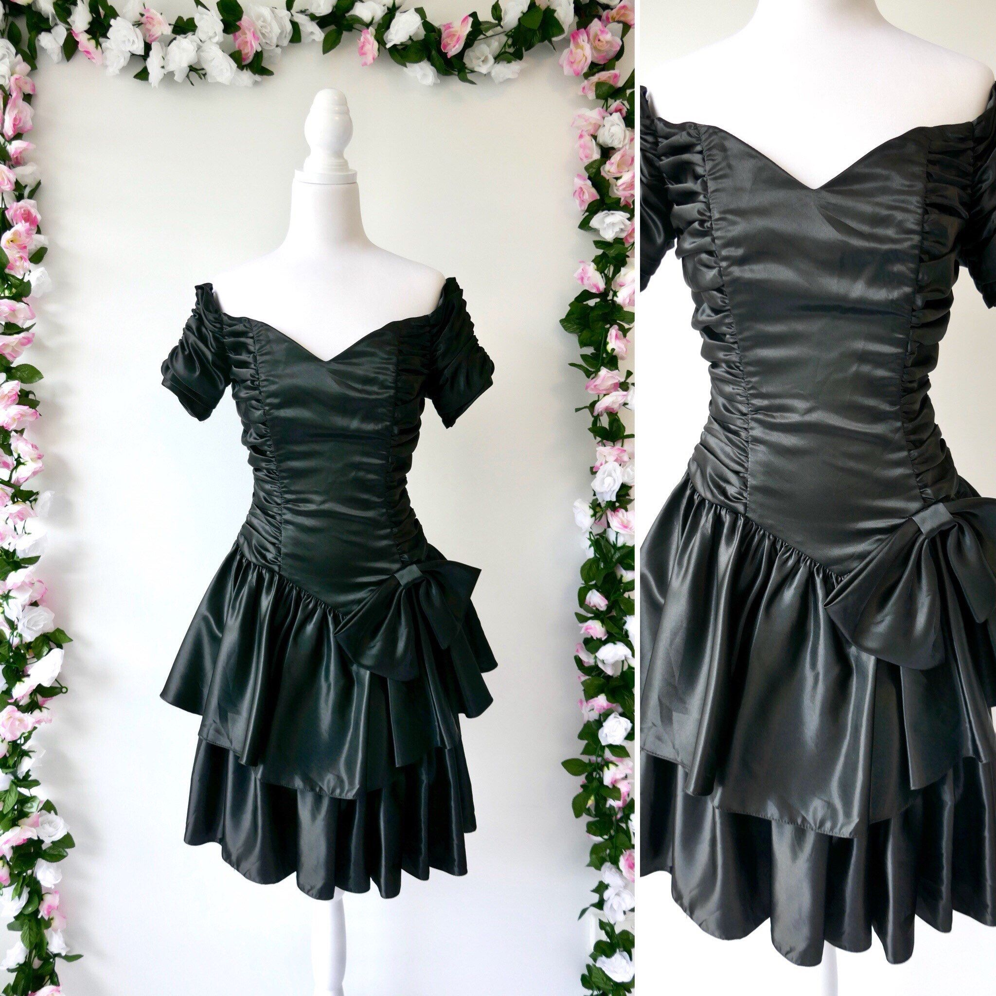 Excited to share this item from my  etsy shop  80s Prom Dress   1980 s  Black Formal Dress   Vintage Party Dress   Taffeta With Big Bow   Cocktail  Dress ... 37fe4ca14