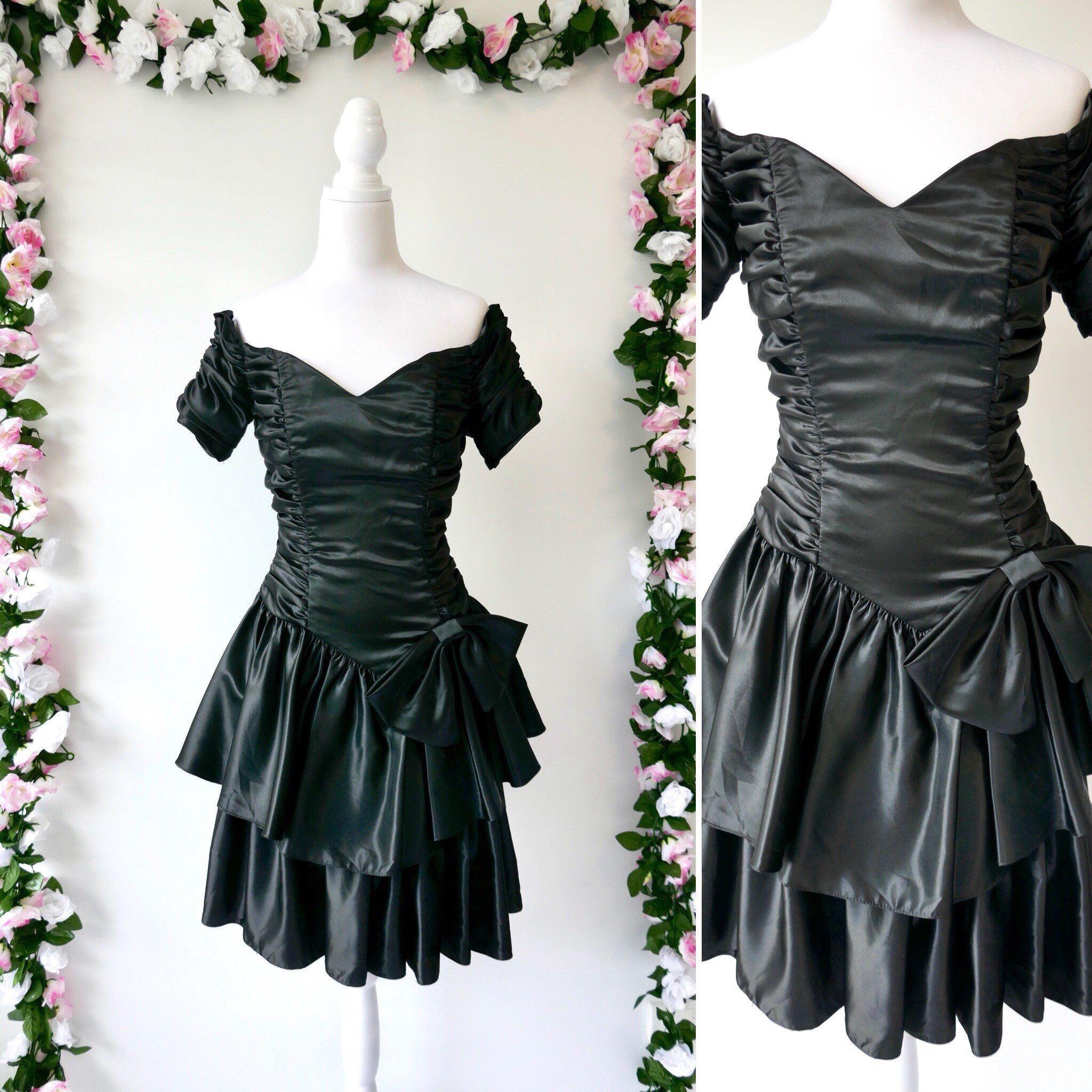 black 80s bow party dress Vintage 80s dress