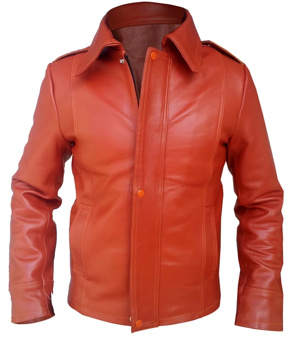 Mens Big And Tall Genuine Leather Jacket In Rust Red With