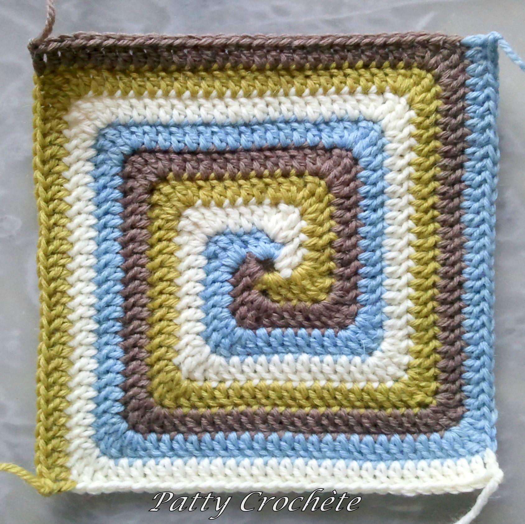 Spiral crochet square | tejiendo | Pinterest | Tejido, Ganchillo y Manta