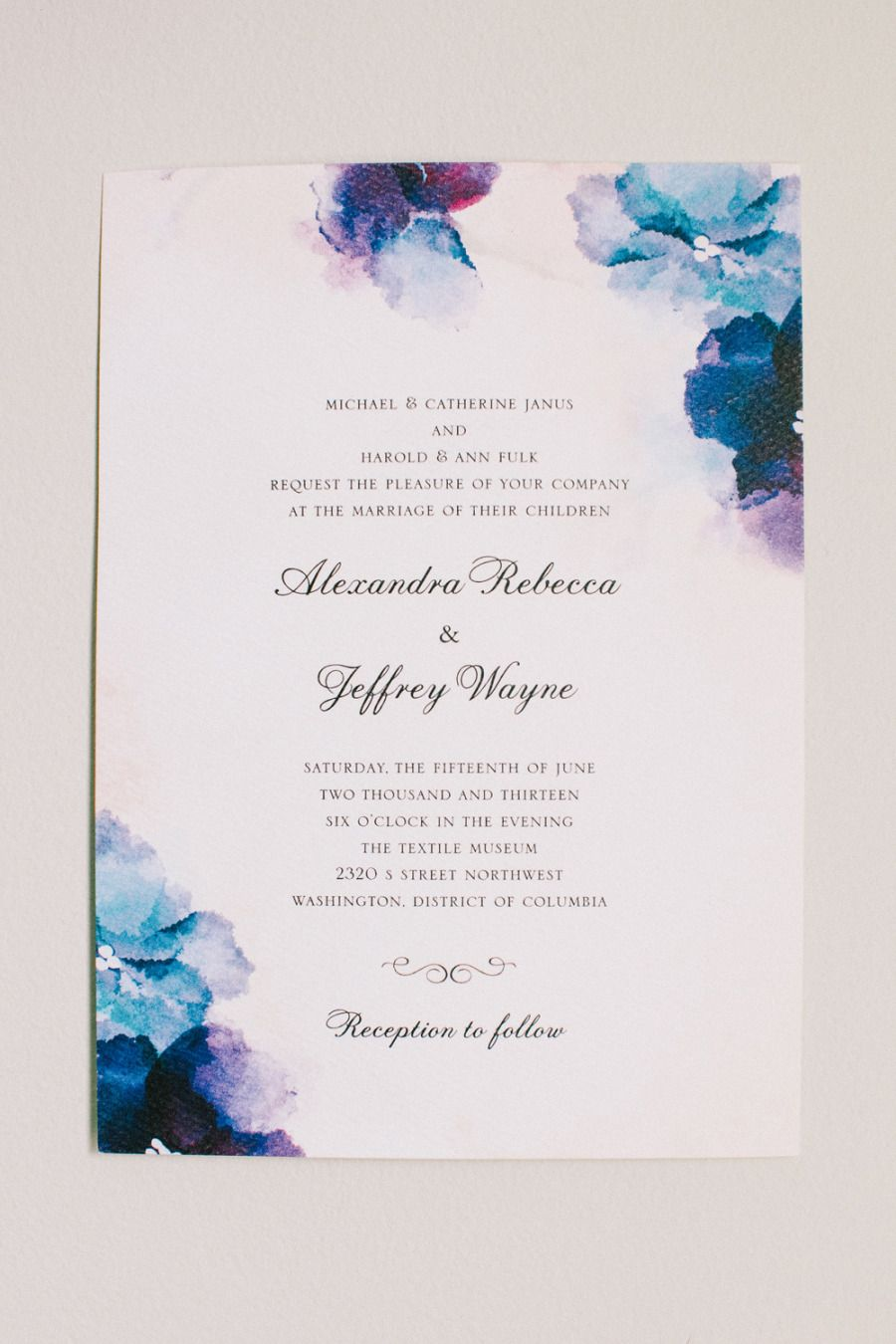 Dc Garden Wedding With Pops Of Color Watercolor Invitationswedding