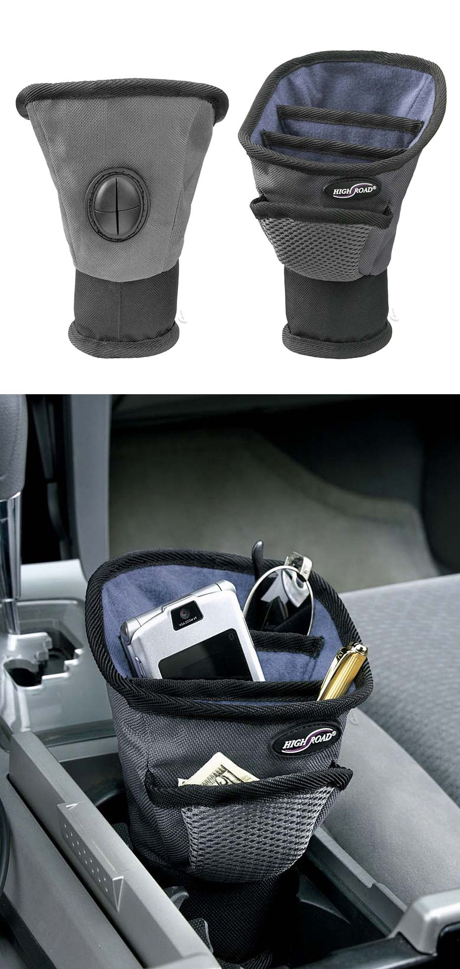 Driver cup // keeps driver roadside essentials nearby, a useful organizer for the cup holder! Clever idea! #product_design