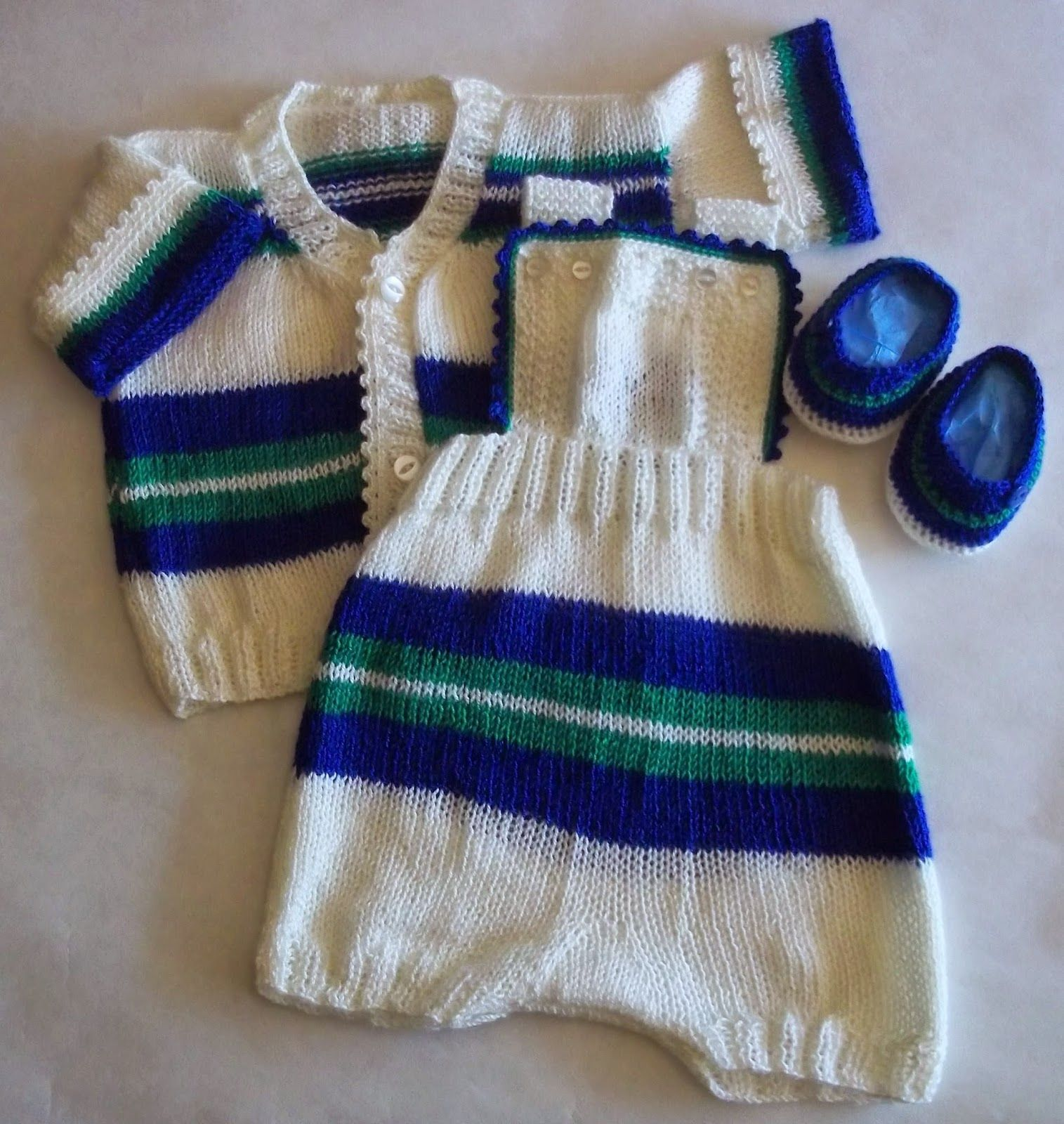 Conjunto Para Bebe Combinado Con Rayas De Colores 3 6 Meses De Carysol Tejidos Artesanales A Mano Conjunto Bebe Rayas De Color Baby Knitting Patterns