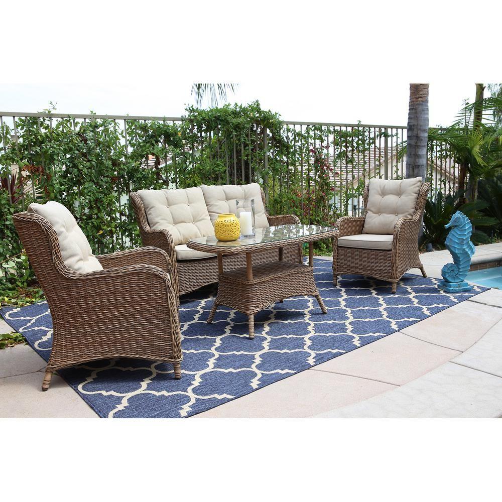 Royal Garden Canterbury 4 Piece Wicker Patio Deep Seating Set With