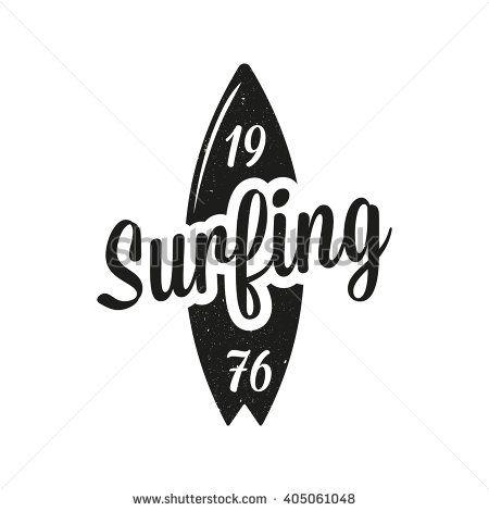 Vintage surfing emblem. Surf logo - stock vector …   Pinteres…
