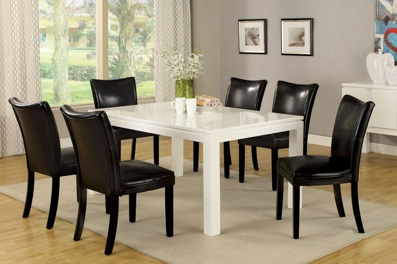 7 PC White Wood Dining Set High Table Chairs Black Leather Seat Back