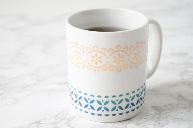 Check Out My Recently Launched Diy Stenciled Mug Project Available On Darbysmart Visit Www Myserenitydesigns Com For Di Diy Ceramic Painted Mugs Stencil Diy
