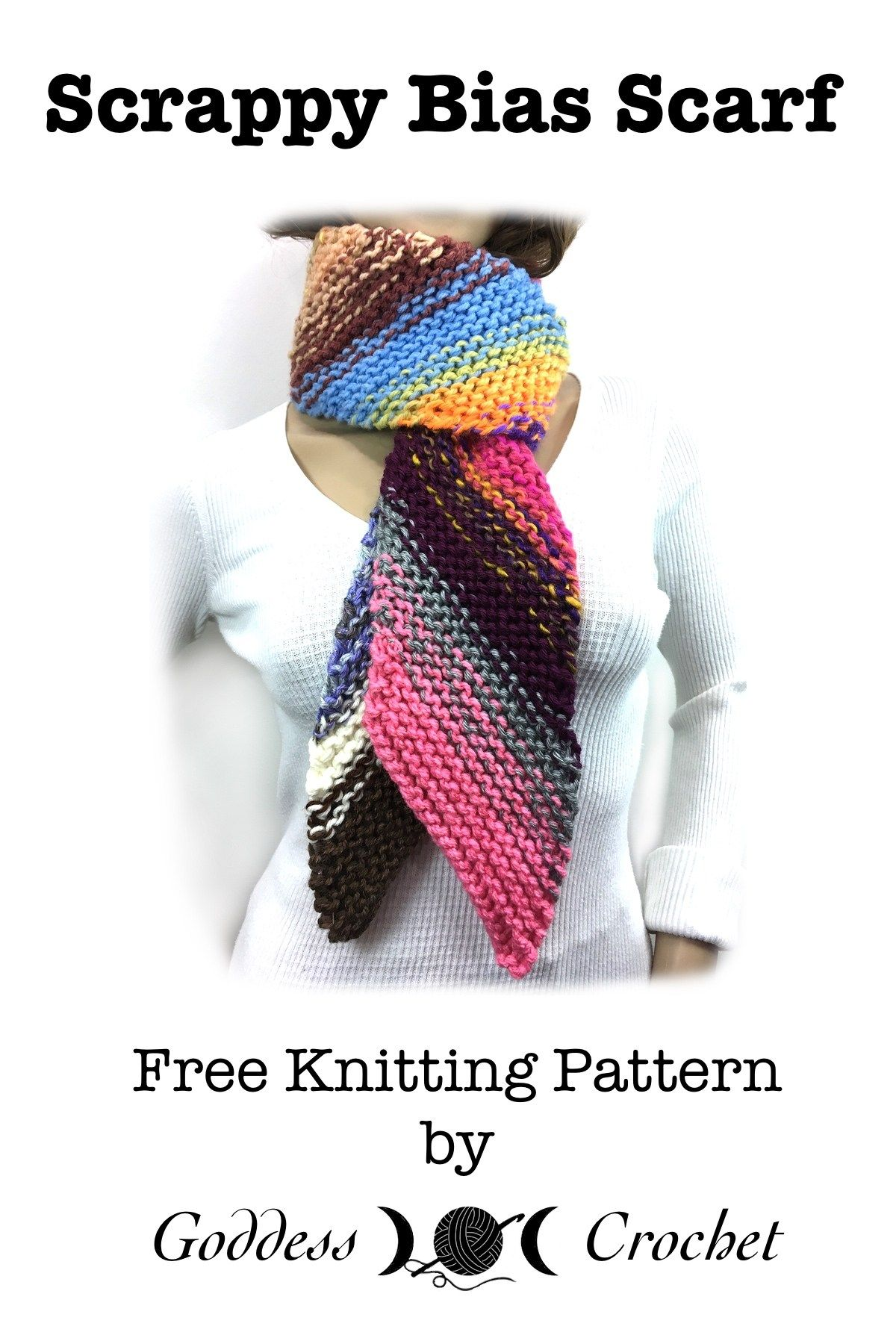Scrappy Bias Scarf - Free Knitting Pattern | knitting | Pinterest ...