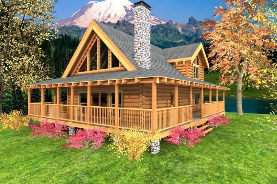 One Story Ranch House Plans With Wrap Around Porch Golden House Design Rustic House Plans Porch House Plans Log Cabin Plans