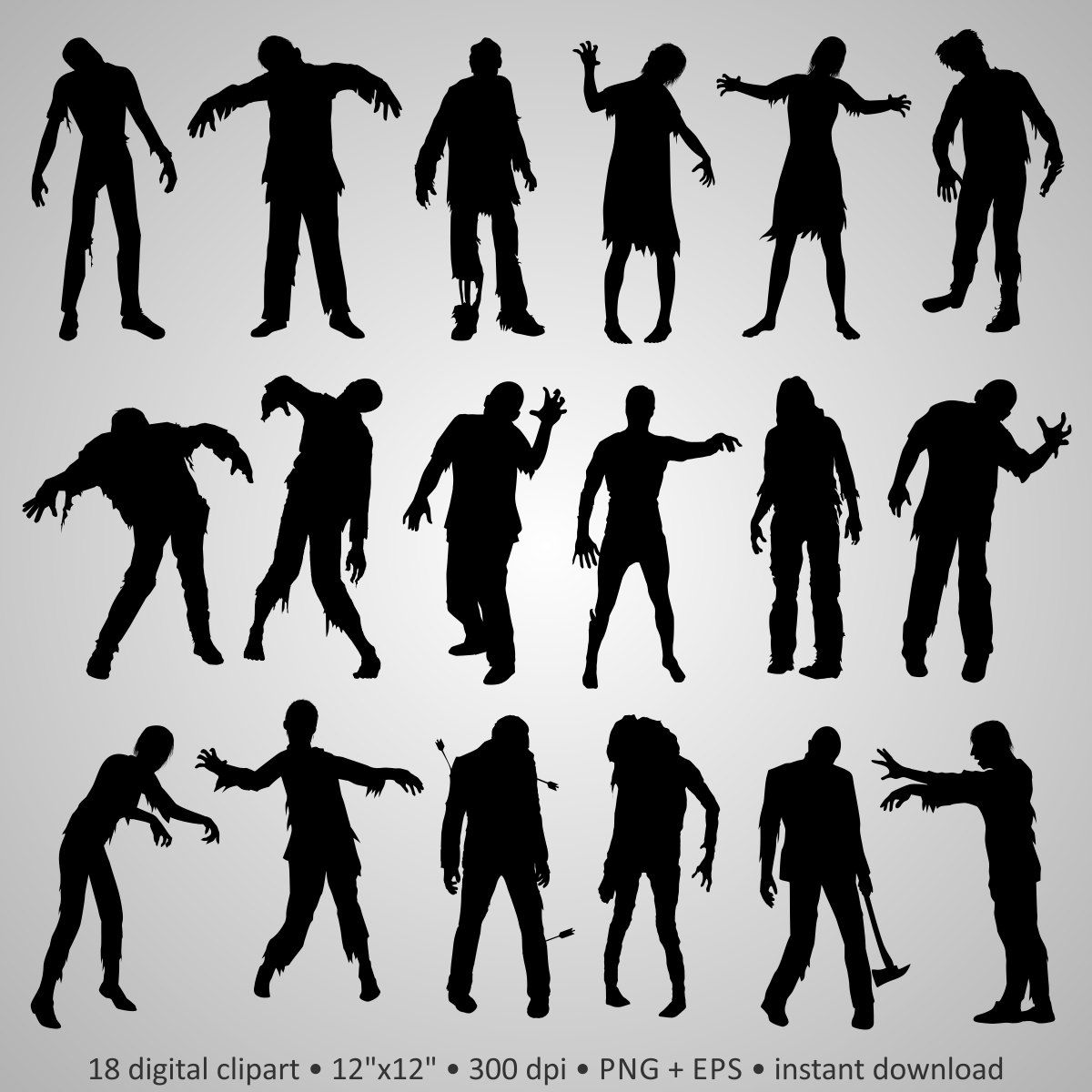 Buy 2 Get 1 Free! Digital Clipart Zombie Silhouettes, walking dead ...