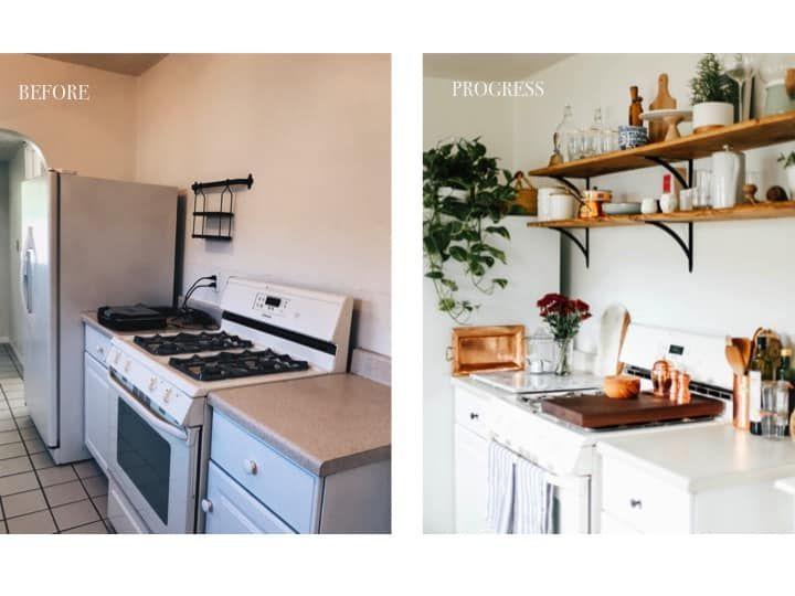 My Rental Kitchen: California Farmhouse Makeover & Progress Photos - College Housewife -   19 diy Kitchen decorating ideas