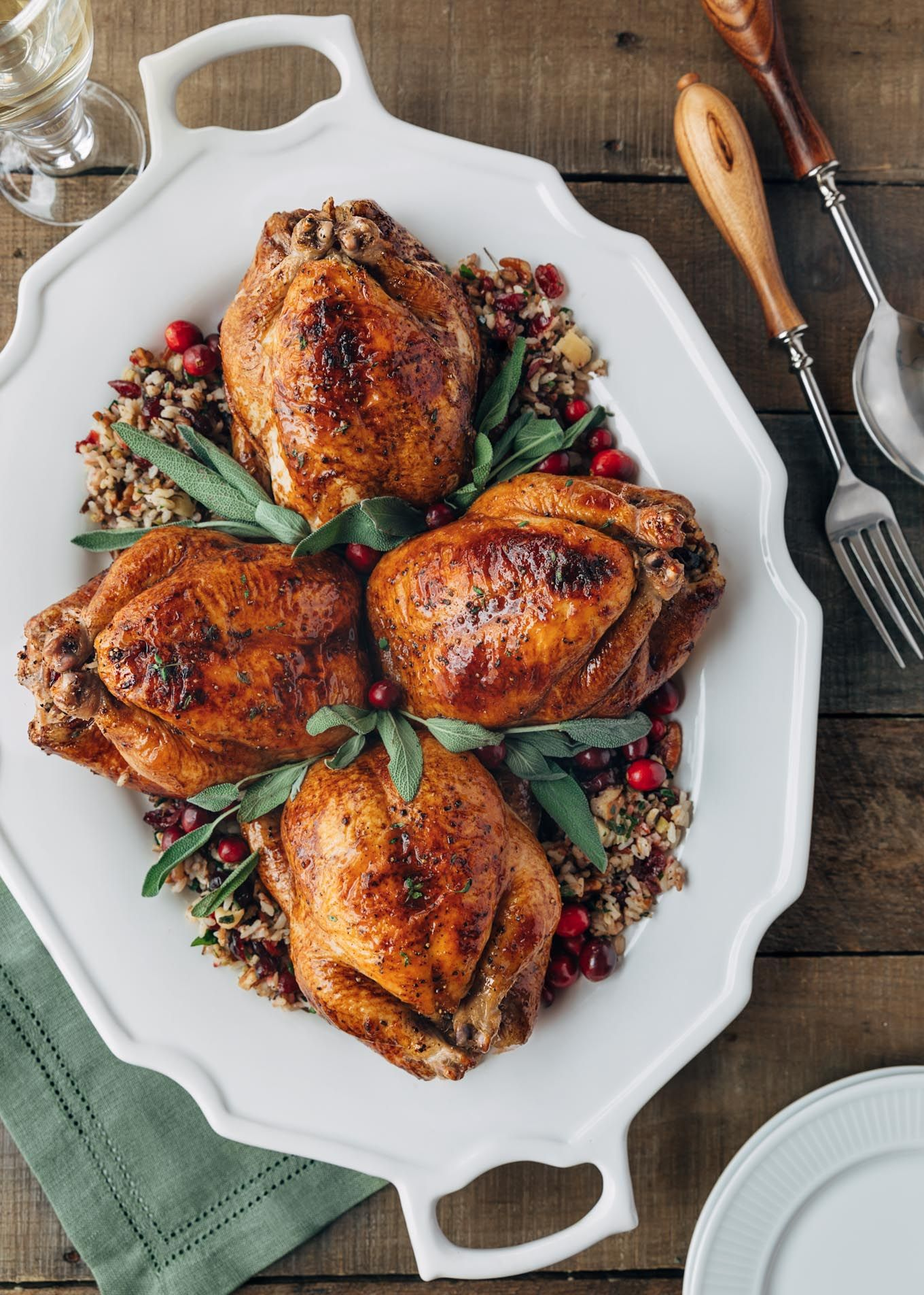 These Roasted Cornish Hens Are A Fantastic Recipe For Holidays And Dinner Parties Stuffed With Wild Rice Apple Lemongrass Recipes Lemon Grass Chicken Recipes