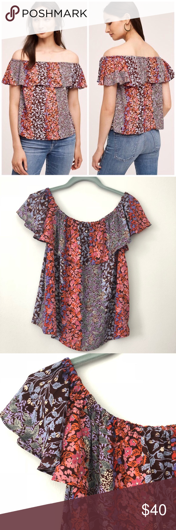 05791e91c6cb4 Anthropologie Maeve Floral Off-Shoulder Blouse Anthropologie Maeve Floral  Off-Shoulder Blouse. Beautiful floral print top with off the shoulder  ruffle.