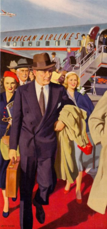 When People Disembarked From Airplanes With Their Dignity Intact (Art by John Falter, 1950)