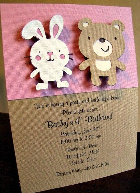 Build A Bear Party Invitations Workshop And Bunny Invitation Birthday In