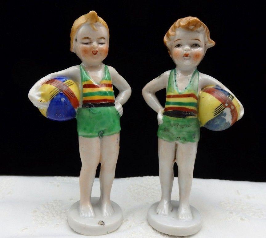 Vtg Bathing Beauty Children Beach Ceramic Figurine Japan