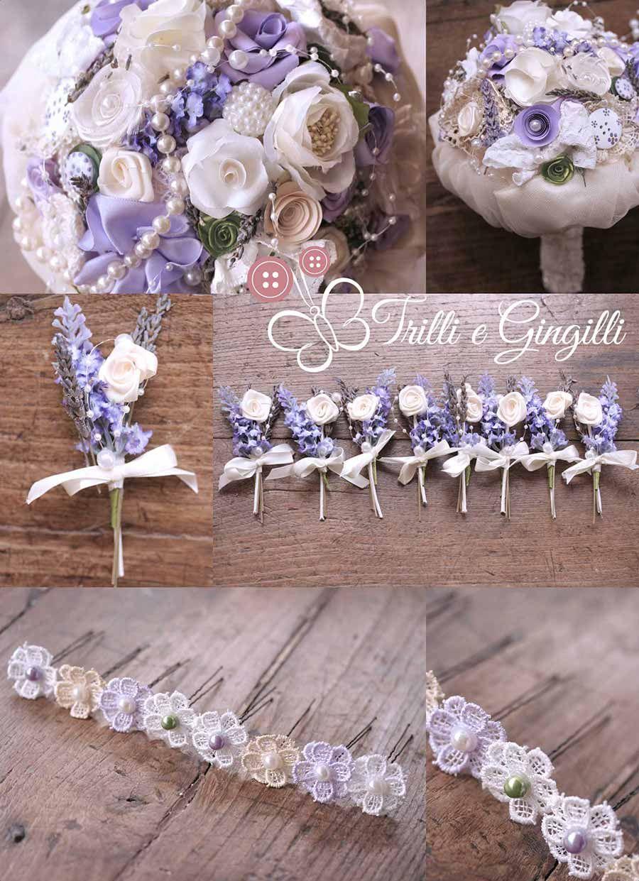 abbastanza Bouquet lavanda con perle e accessori coordinati: bottoniere e  AR86
