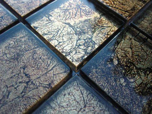 Glasmosaik Effekt Mosaik Fliesen Klarglas Metall Schwarz Gold