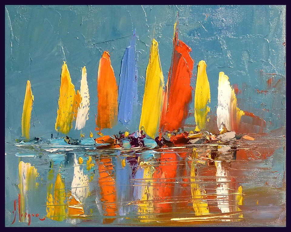 Peinture Au Couteau Voiliers Sailboat Painting Watercolor