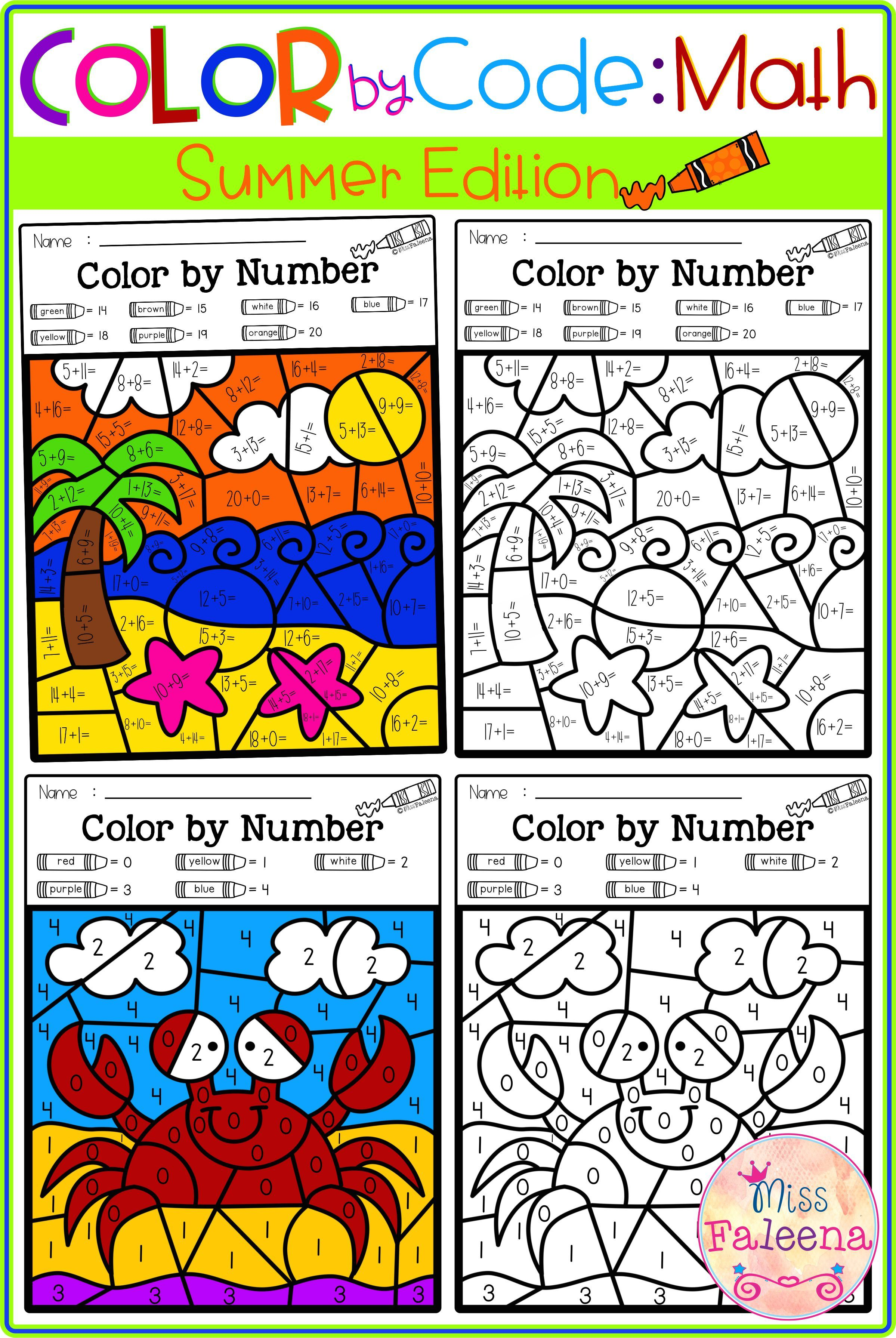 There Are 20 Pages Of Color By Math Worksheets In This