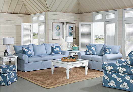 Vero Beach Blue 7Pc Classic Living Room In 2019