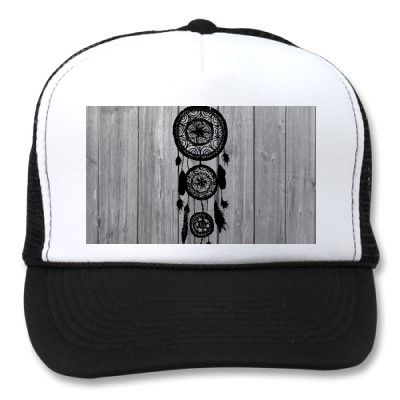 Hipster vintage black dreamcatcher on gray wood trucker hat