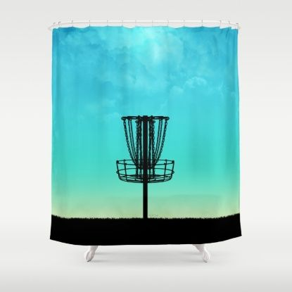 Disc Golf Basket Silhouette Shower Curtain With Images Disc