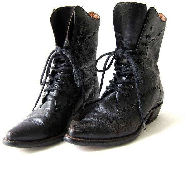 BootsPointy Up Granny Vintage BootiesLace Black Leather bvIYf7ym6g