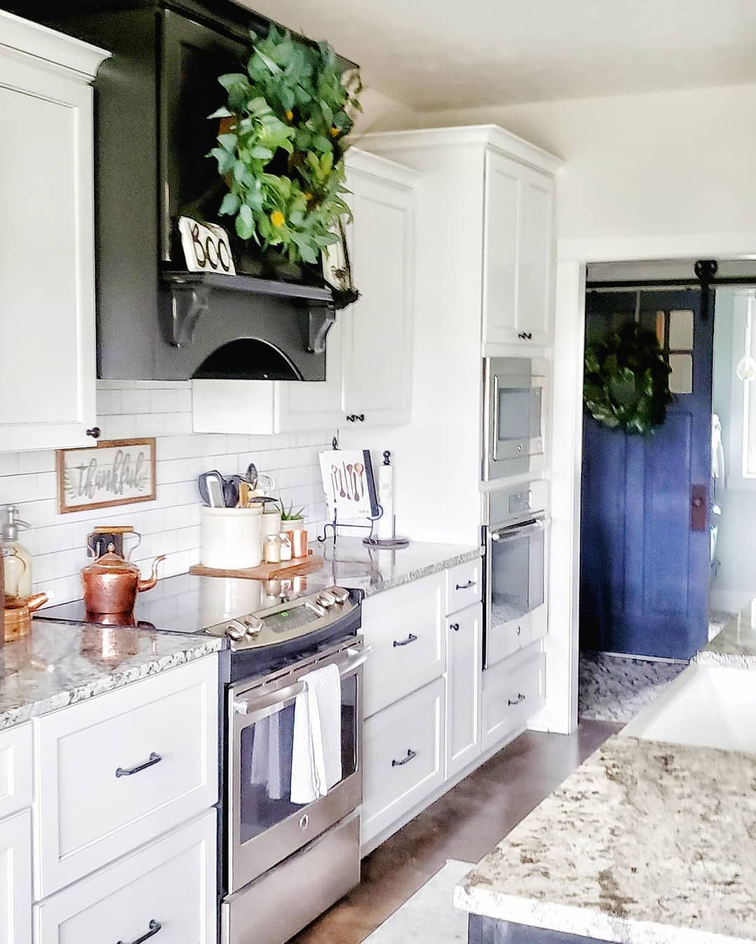 black and white kitchen farmhouse kitchen farmhouse sink barn door copper accents fall kitchen on farmhouse kitchen black and white id=15270