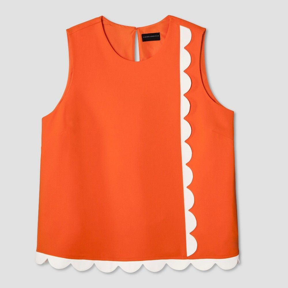 7c5bd510b7 Plus Size Women s Plus Orange Twill Tank Top with Asymmetric Scallop Trim  2X - Victoria Beckham for Target