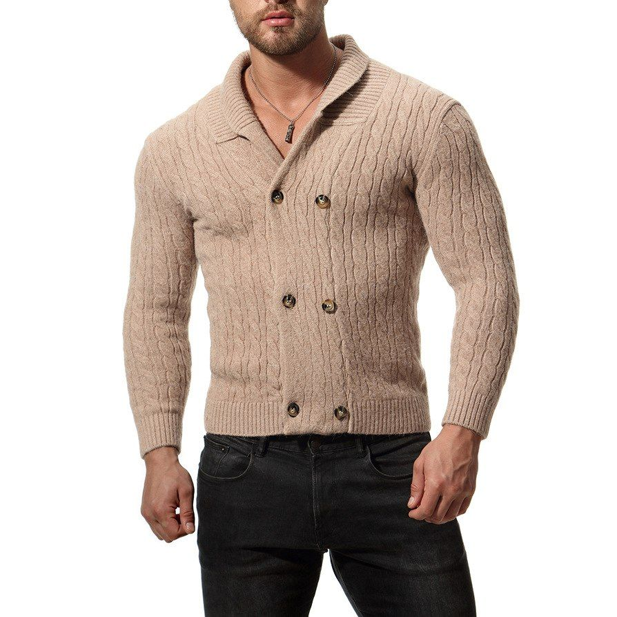 725e7df27bfe3c Youth Solid Men Knitted Cardigan Sweater V-Neck Double Breasted Mens Long  Sleeve Cardigan Slim Mens Designer Sweater