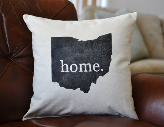 New Ohio State Home Canvas Pillow Stenciled Home Ohio