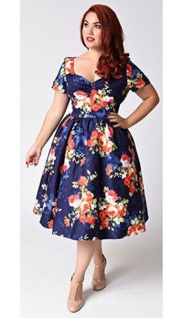 Unique Vintage Plus Size 1950s Navy & Floral Bouquet Short Sleeve ...