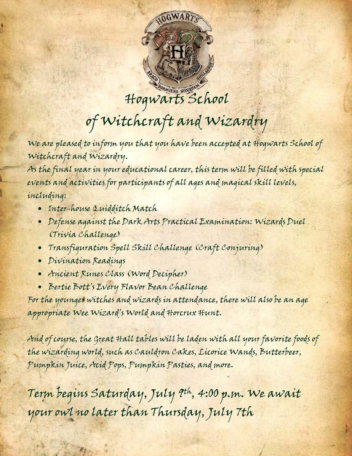 Hogwarts Letter 16 Jpg 1 236 1 600 Pixels Harry Potter Camp