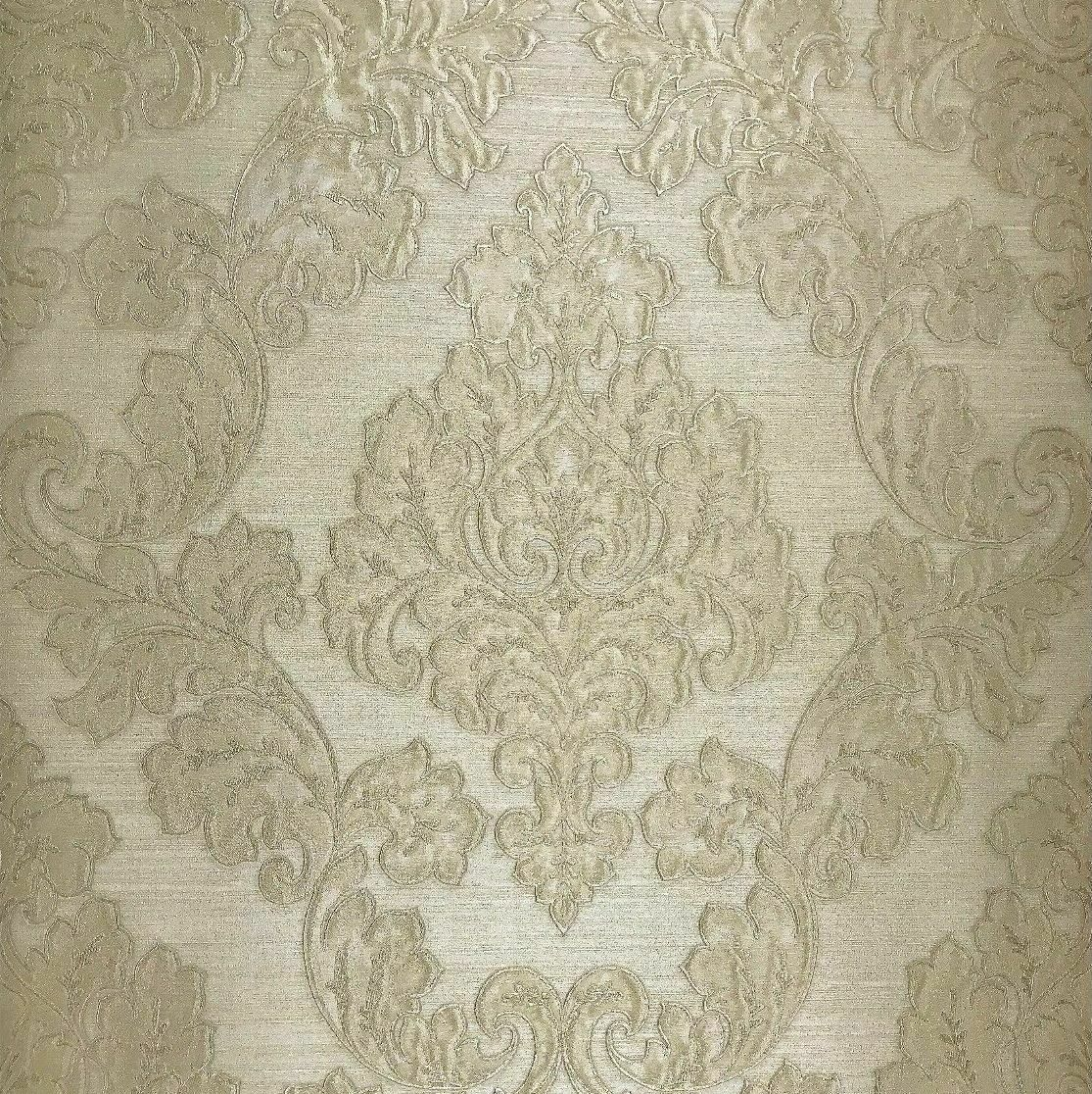Details About Embossed Wallpaper Beige Ivory Gold Metallic