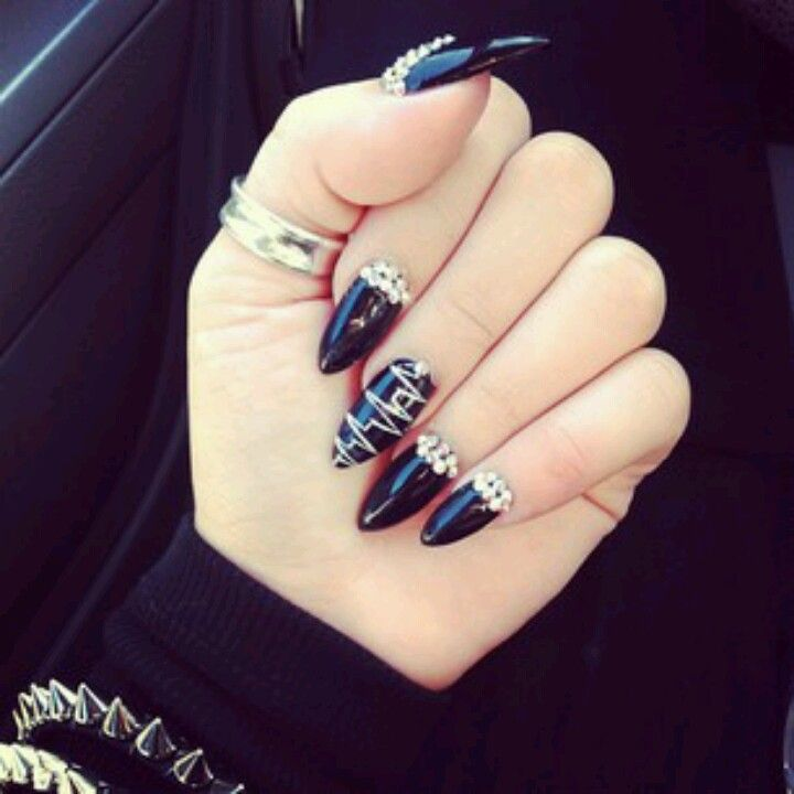 Black Jeweled nails | Nueva nails | Pinterest | Jewel nails, Jewel ...