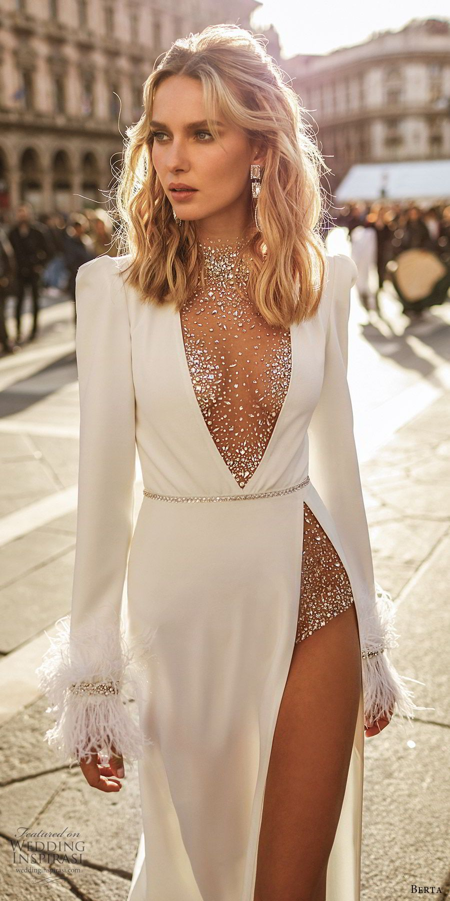 Berta Spring 2020 Wedding Dresses \u2014 \u201cMilano\u201d Bridal Collection For Spring 2020, Berta introduces intricate, never before seen fabrics alongside daring cuts and a mix of handmade embellishments for a collection #fashiondresses