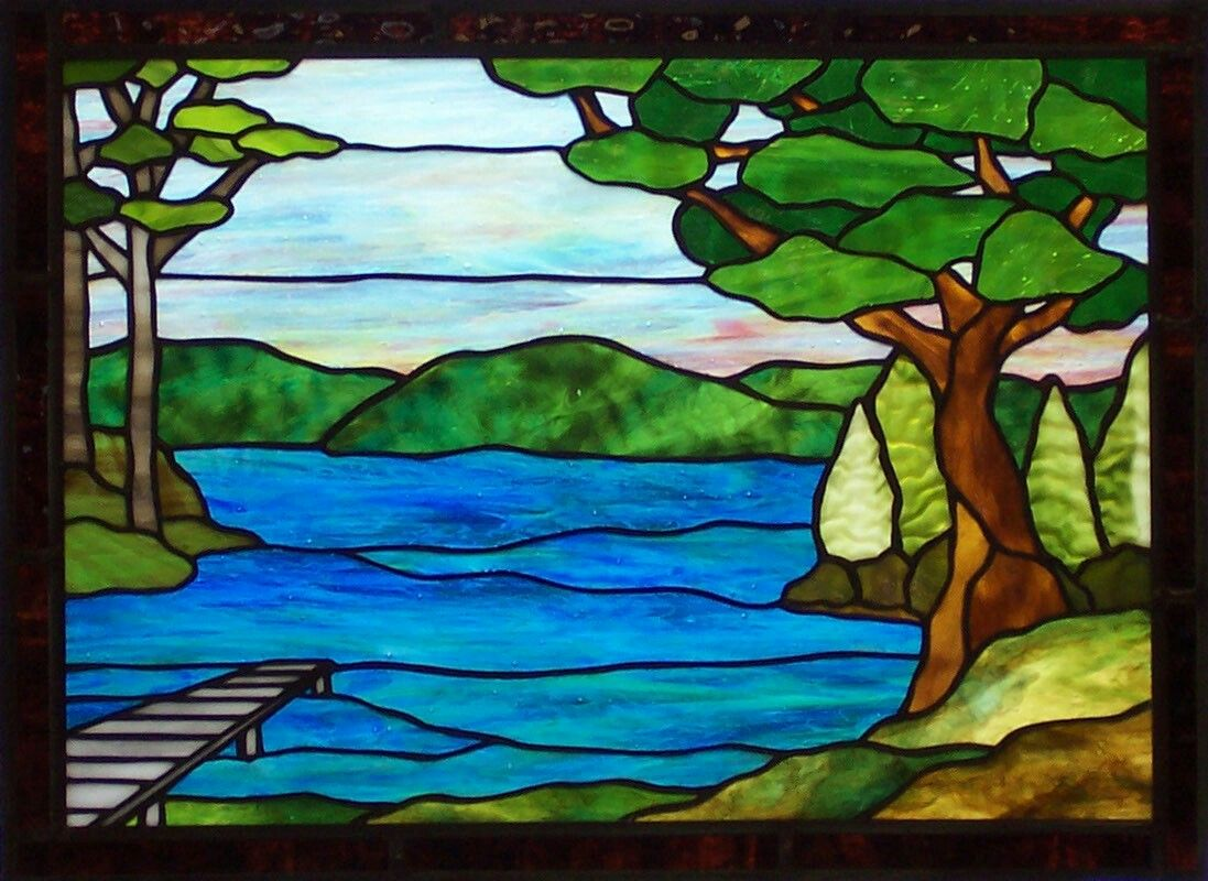 Tree Sky Water Scene Paper Crafts Glass Painting Design Stained