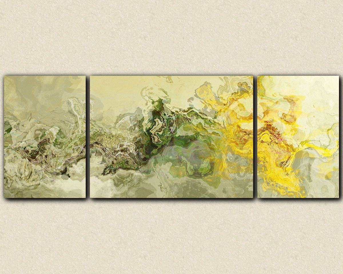 Very large triptych canvas print, 30x80 to 34x90 yellow and sage ...
