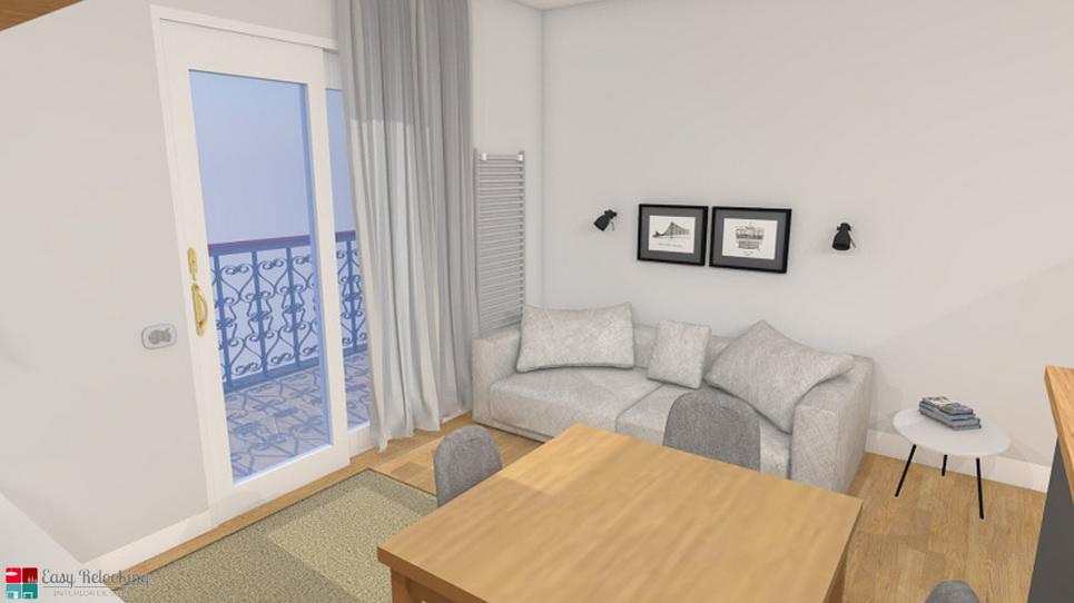 Progettazione di un soggiorno moderno con cucina a vista for Soggiorno living moderno