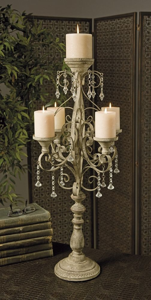 Tuscan French Country Chic 34H Iron Crystal Beaded