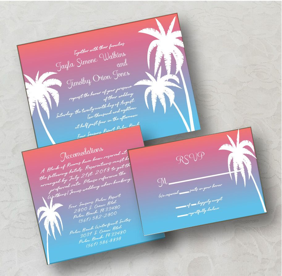 Sunset Palm Wedding Invitation Digital Download, Printable