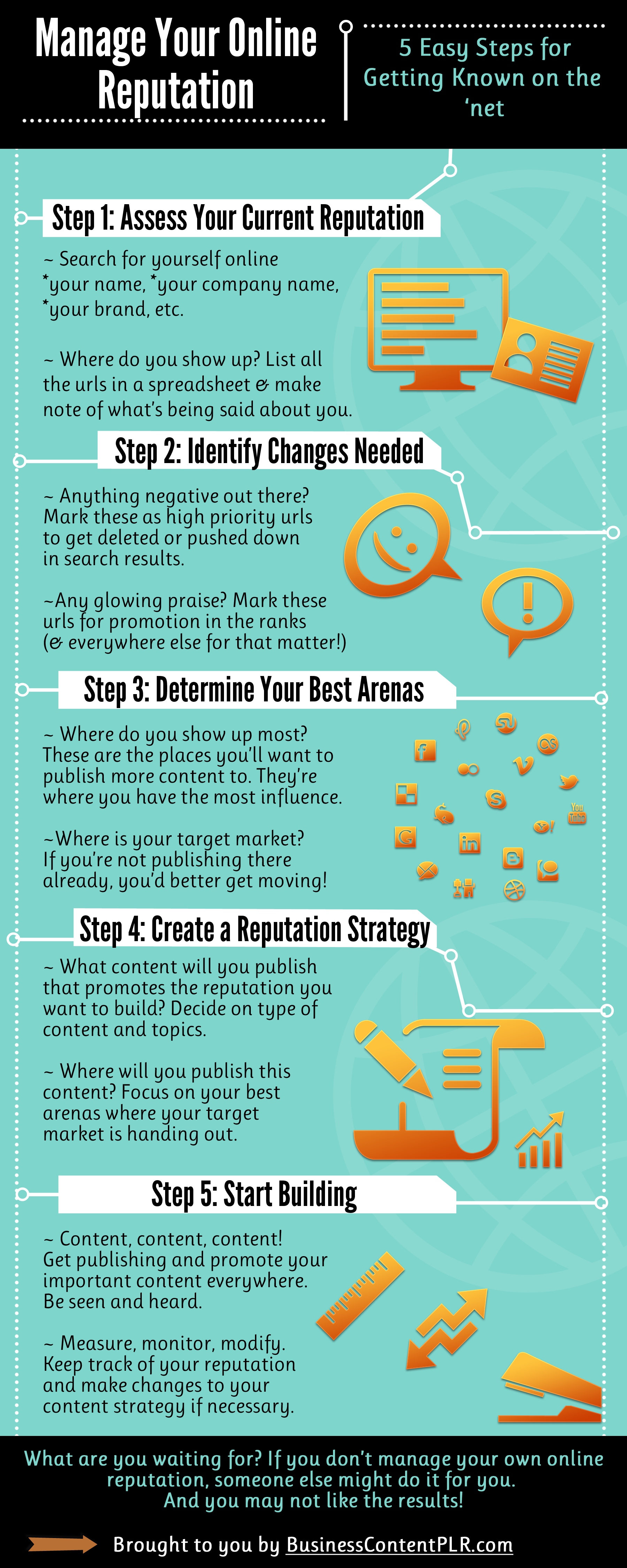 Free PLR infographic - Manage Your Online Reputation in 5 easy steps