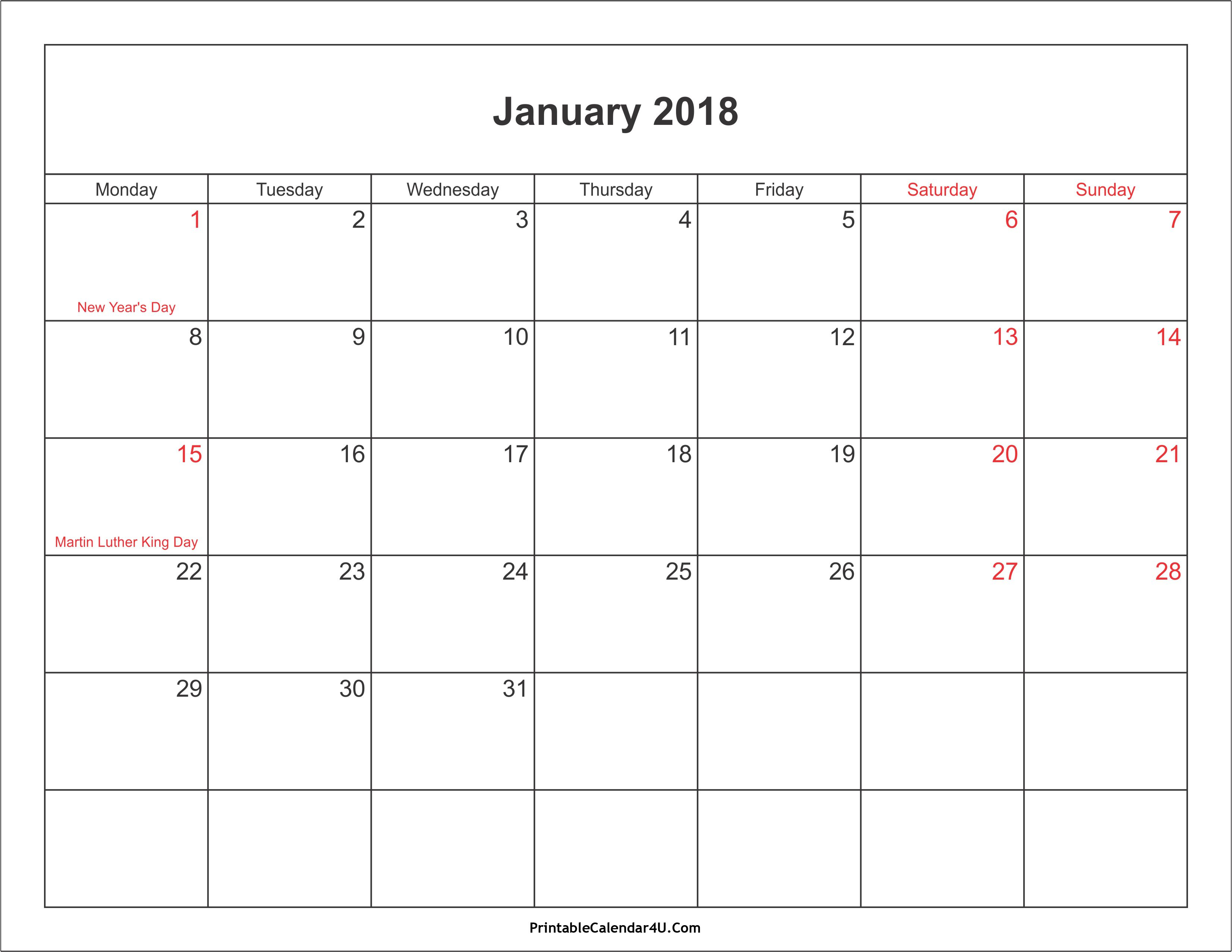 January Calendar Printable With Holidays And