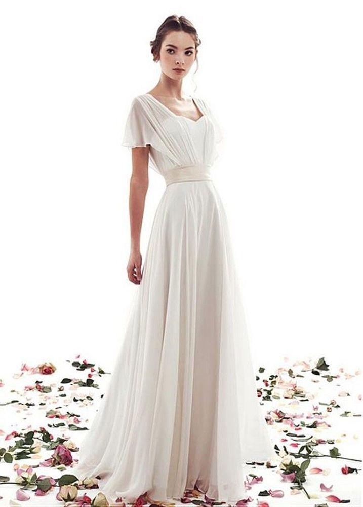 Cap Sleeves Chiffon Wedding Dress Bridal Gown Custom Size 4 6 8 10 ... 6f2326488b78