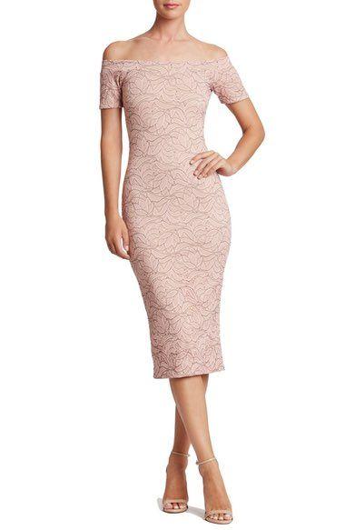 575fae0e6aa Dress the Population Jemma Lace Off the Shoulder Midi Dress