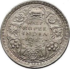 1943 India Under British Uk King George Vi 1 2 Rupee Silver Indian Coin I55223 Coins Ancient Coins Valuable Coins