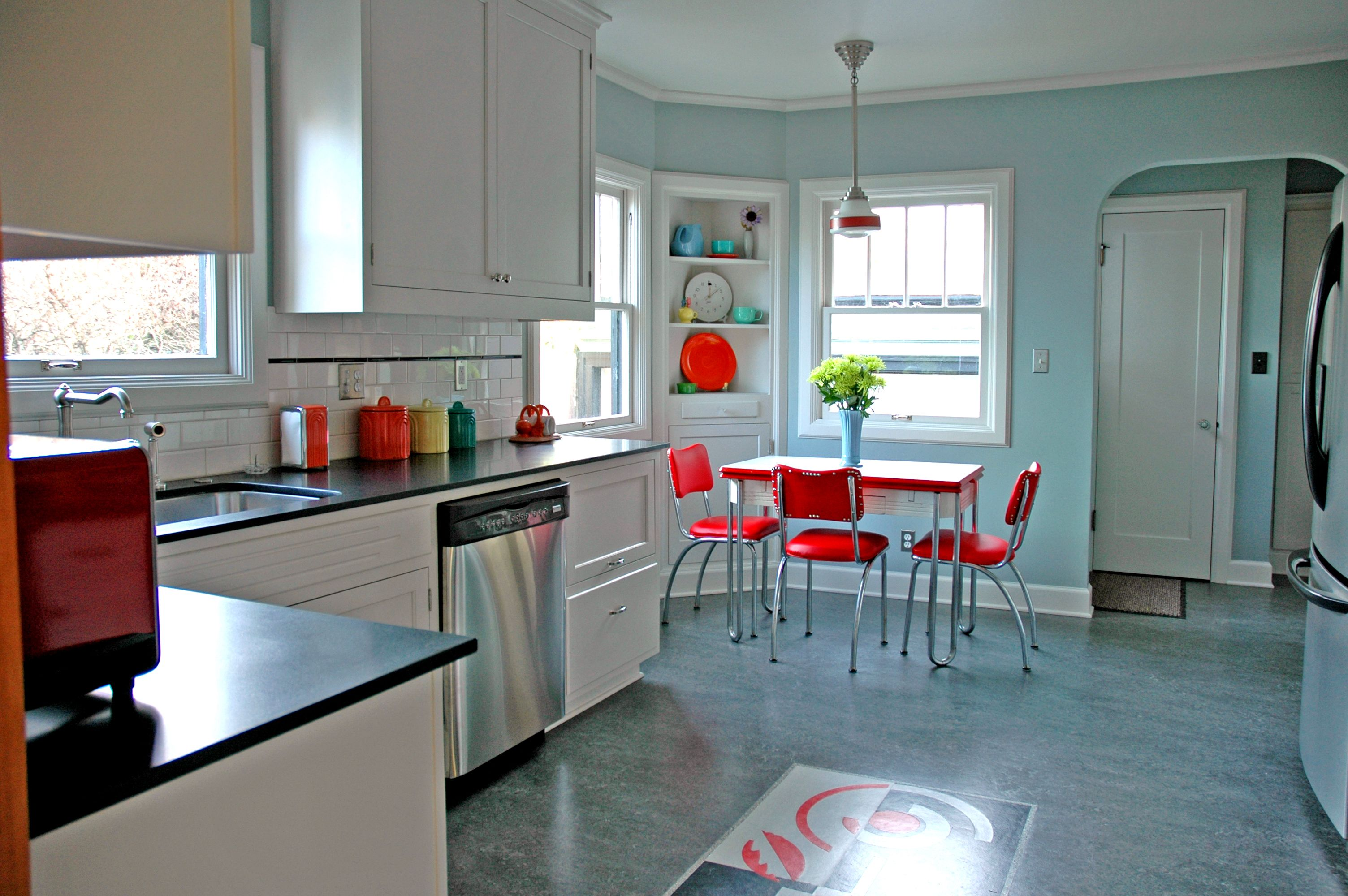 Nice Red Pieces Really Pop In This Kitchen Designed