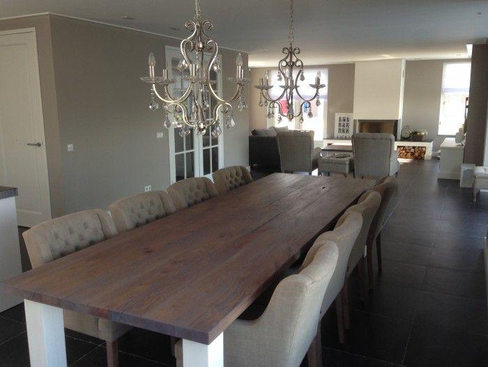Landelijke eetkamer tafel gemaakt door xxltafel op maat van 350 x 100cm twee grote riviera - Eetkamer interieur decoratie ...